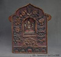 wedding decoration Tibet Wood Painting Carved eight treasures 4 Arms Chenrezig Buddha Fokan Shrine