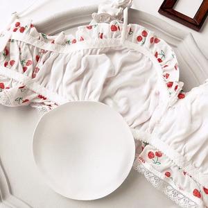 Image 3 - Wriufred kiraz baskılı pamuklu kız kalp öğrenci sutyen seti tel ücretsiz yumuşak fincan iç çamaşırı büyük toplanan tüp üst iç çamaşırı setleri