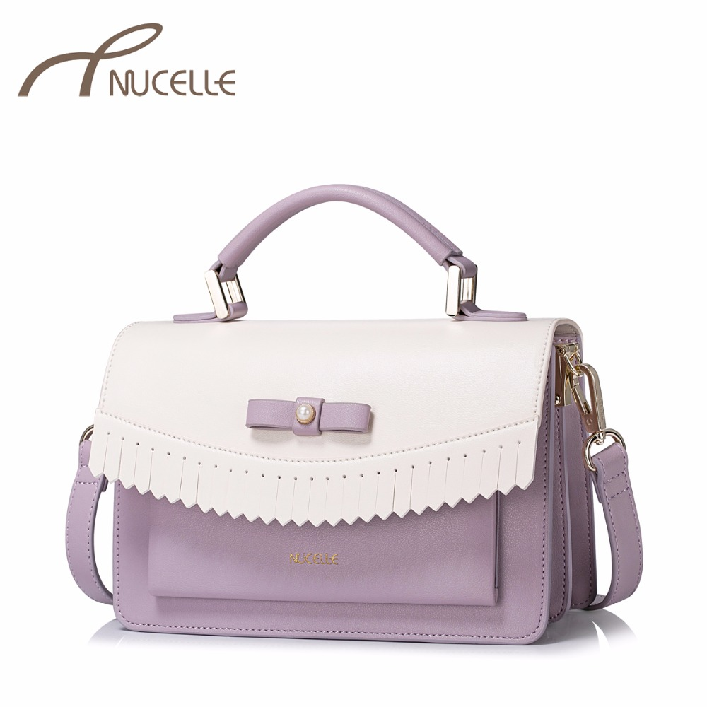 NUCELLE Women PU Leather Handbag Ladies Fashion Tassel Bow Messenger Tote Purse Female Patchwork Flap Crossbody Bags NZ4985