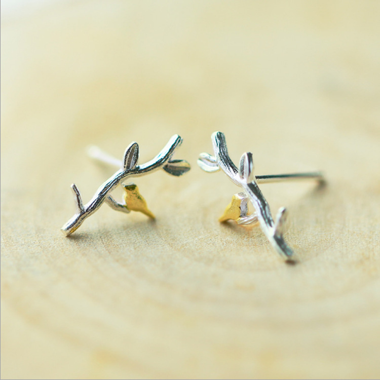 DreamySky Pure Bird Branch 925 Sterling Silver Earrings For Women Girls Christmas Gift Brincos Pendientes Drop Shipping