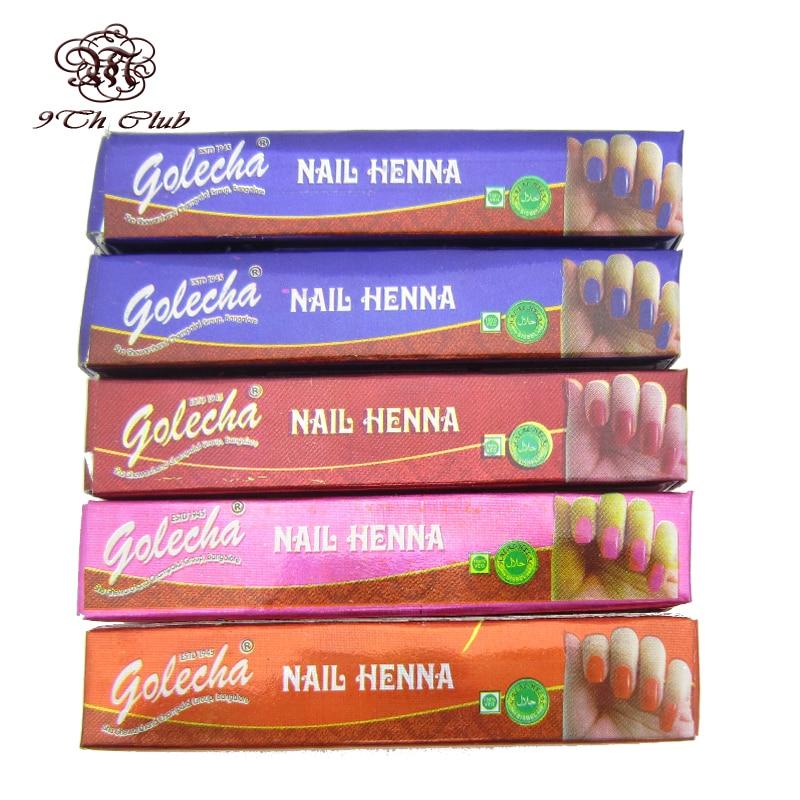 5pcs GOLECHA Brand Henna Nail Polish Art,Indian Mehndi Colored Henna ...