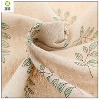 Width 155cm Free Shipping 5 Meters Color Printing Cotton Hemp Linen Olive Green Leaves For Bags