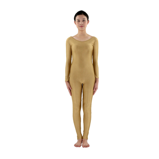 Scoop Neck Full Body Spandex Dance Unitard Gold Bodysuit Costumes Workout  Gymnastics Unitard 49e8d20304e6