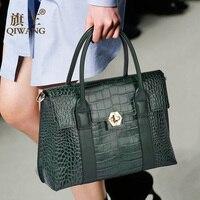 Длинная ручка сумки зеленый Модный Европейский Брендовая Дизайнерская обувь из натуральной кожи Для женщин Сумки натуральная кожа большие