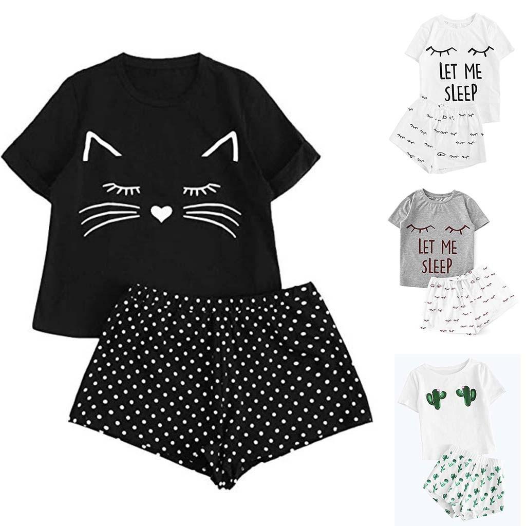 2 Piece Cute Set Women's Casual  Shorts Short Sleeve Ruffled T-Shirt Casaul Sleepwear Nightwear Set With Cat Smile Print