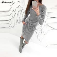 Knitted Belt Sweater Dress Womens Winter Autumn Grey Pocket Pencil dress Causal Long Sleeve Fitness Office Dress Party Vestidos