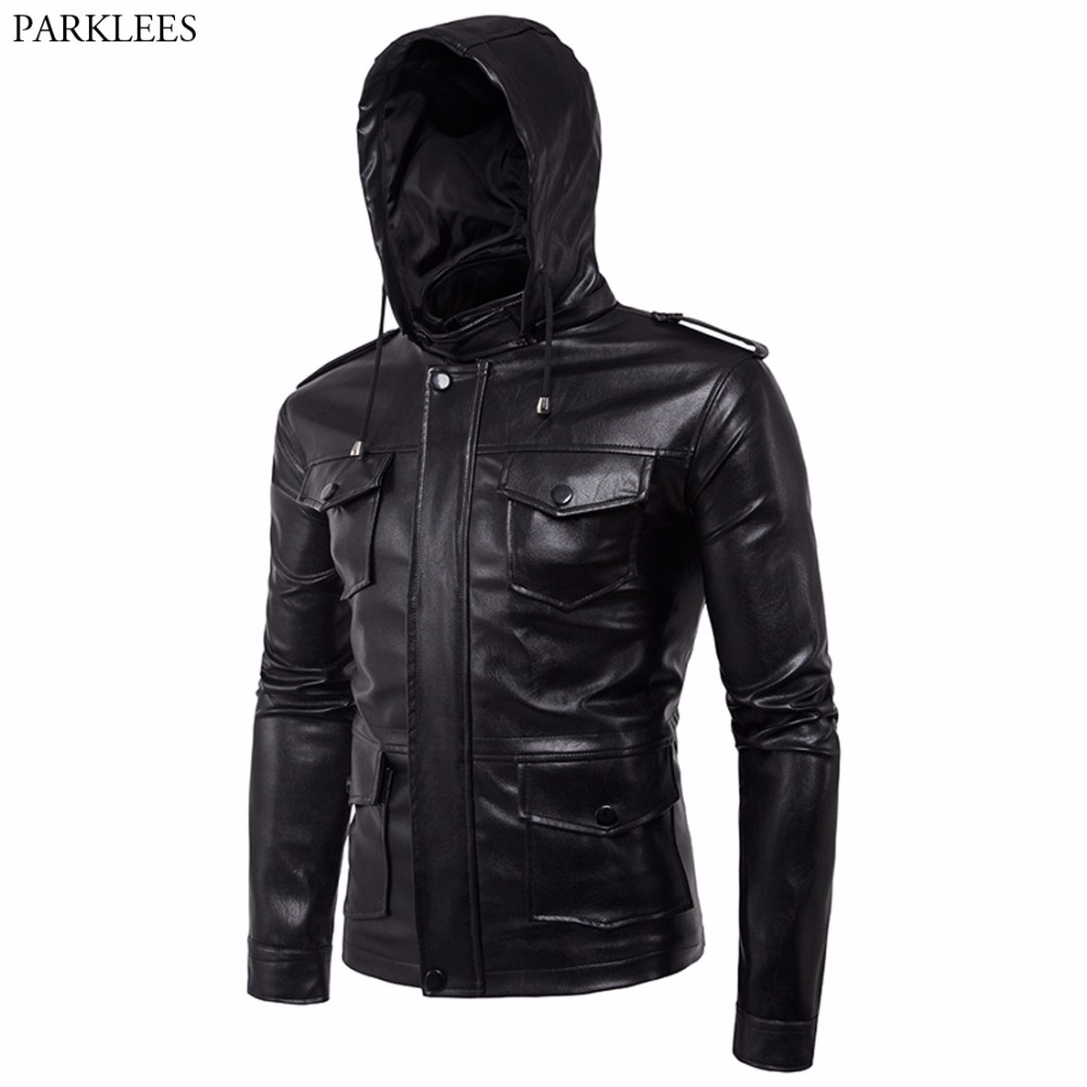 Leather Hooded Jacket Men 2017 Motorcycle Men PU Leather Jacket Casual Zipper Pocket Leather Hoodie Jacket Jaqueta Masculino 5XL