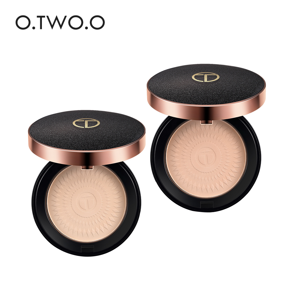 O.TWO.O Natural Make Up Face Powder Foundations Oil-control Brighten Concealer Whitening Pressed Powder With Puff тушь make up factory make up factory ma120lwhdr04