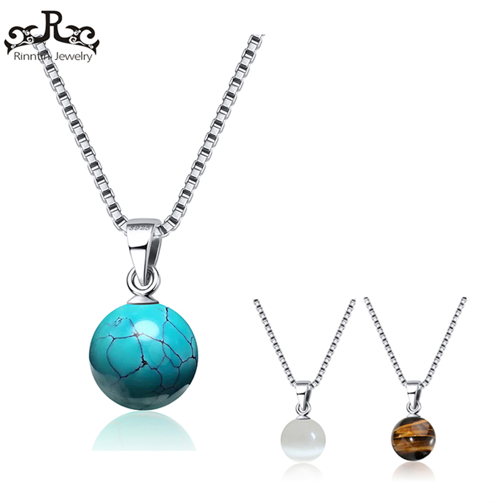 Rinntin 100% Real Sterling Silver Necklaces for Women 3 Kinds Natural Stone Pendants Men Trendy Fine Party Jewelry TSN87Rinntin 100% Real Sterling Silver Necklaces for Women 3 Kinds Natural Stone Pendants Men Trendy Fine Party Jewelry TSN87
