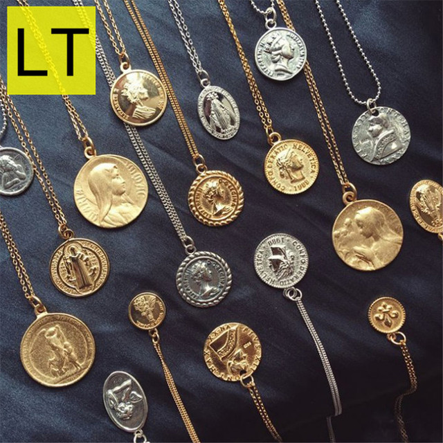 a5894b2eef7d Color oro de la moneda collares y colgantes para las mujeres retrato Simple  dólar encanto collar delicado capas regalos X004