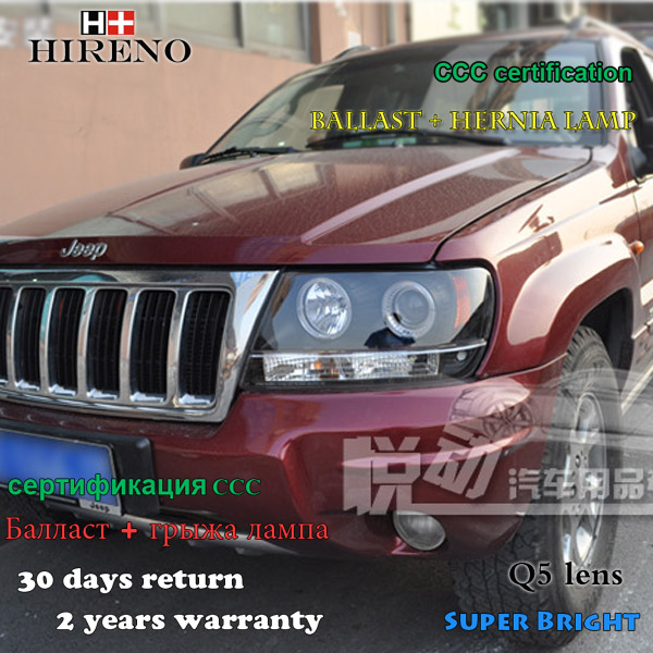 Hireno Headlamp for 1999-2004 Jeep Grand Cherokee Headlight Assembly LED DRL Angel Lens Double Beam HID Xenon 2pcs накладки на пороги jeep grand cherokee iii 2004 2010 carbon