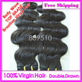 Top Grade Double Drawn Uprocessed Virgin Brazilian Hair 2pcs/lot, Body Wave Natural Color 20 - 22 inch DHL FREE SHIPPING ring