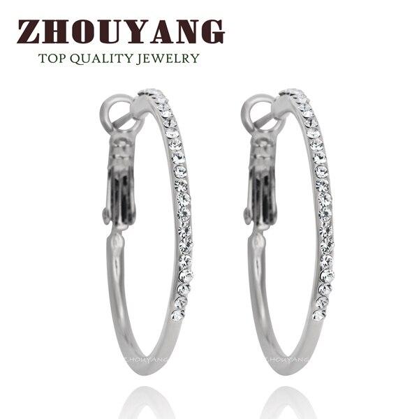 Классические большие золотистые серьги-кольца с кристаллами Ruond для женщин, австрийский кристалл, высокое качество ZYE307 - Окраска металла: Платиновое покрытие