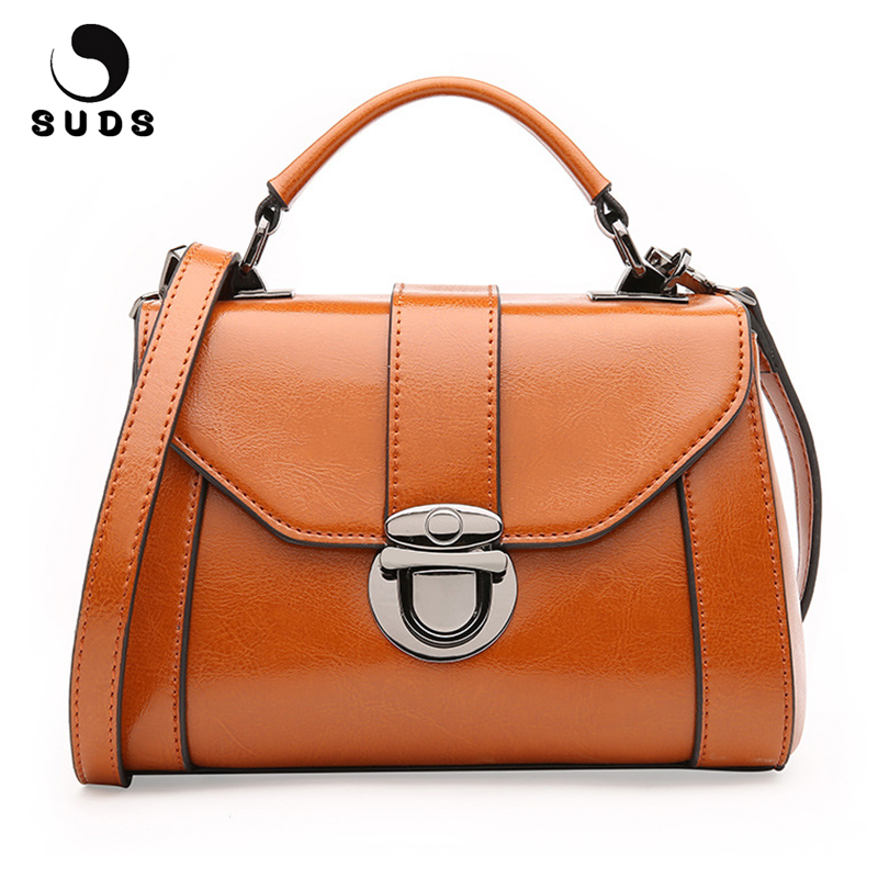 SUDS Brand Genuine Leather Women's Messenger Bags Designer High Quality Crossbody Bags Female Cow Leather Traveling Shoulder Bag suds brand women casual 100% genuine leather handbag female designer high quality totes messenger bag cow leather small tote bag