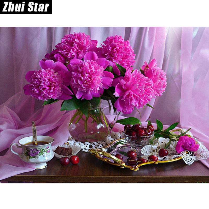 Diy 5D Diamond Painting Mosaic Full Diamond Broderi Flower & Fruit Diamond Cross Stitch Crystal Square Diamond Set Heminredning