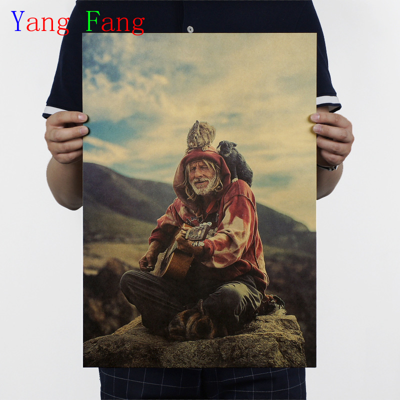 Wandering old hippie retro style kraft paper poster vintage posters Home decoration painting core51x35.5cm