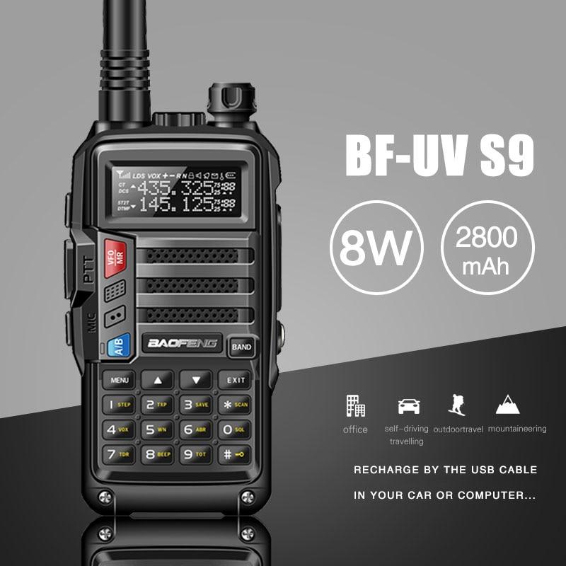 2018 BAOFENG UV-S9 8 w Puissant VHF/UHF136-174Mhz & 400-520 mhz Double Bande 10 km Longue Portée thickenbattery Talkie Walkie CB Radio