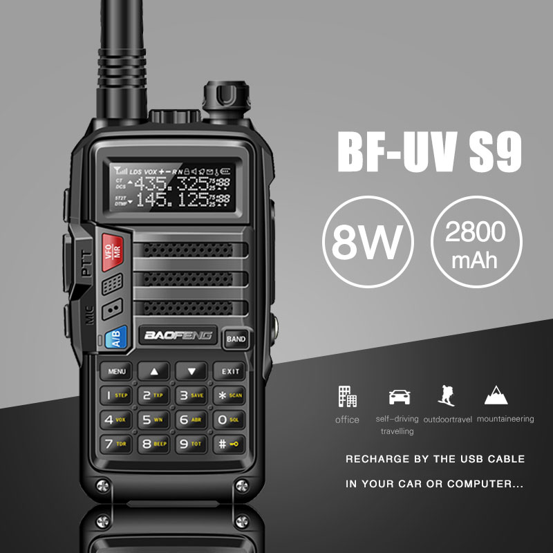 2019 BAOFENG UV-S9 8 W Puissant VHF/UHF136-174Mhz & 400-520 Mhz Double Bande 10 KM Longue Portée thickenbattery Talkie Walkie CB Radio