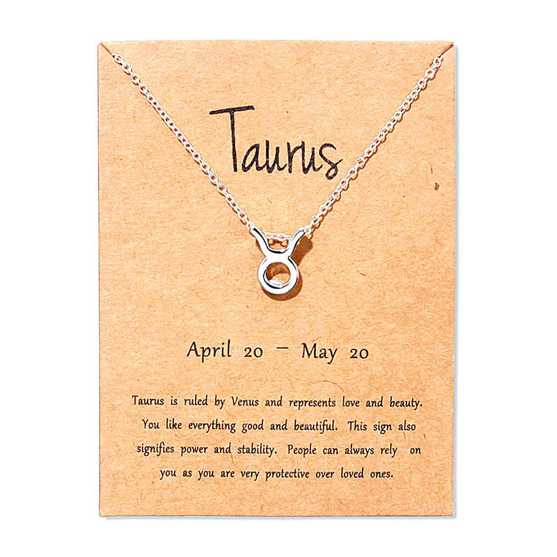 Hot Virgo Taurus Pisces Message Card Jewelry 12 Constellation Pendant Necklace Chain Necklaces For Women Birthday Gift