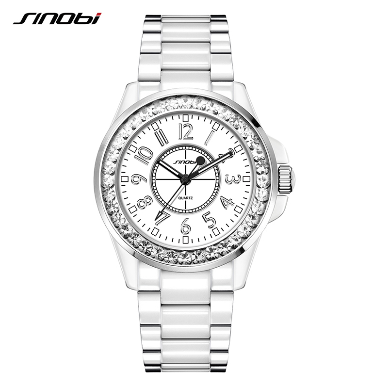 SINOBI Fashion Relogio Feminino Dress Clock Female Ceramic White Watch Women Crystal Casual Wirstwatch Girl Shining Watch L89