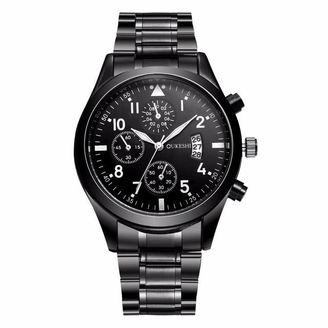 2018 Stainless Steel Quartz Men Watch Top Brand Luxury Calendar Wristwatch Fashi