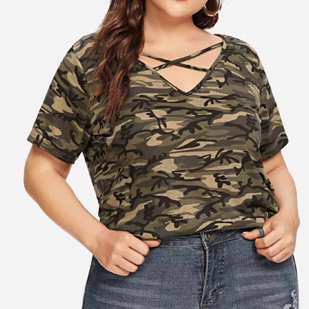Plus Size Women Camouflage T-shirt Ladies Summer Short Sleeve Tops Casual Blouse