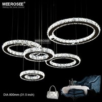 Good K9 Crystal Chandelier Circle Stainless Steel Crystal Hanging Light Diamond Luminaires LED Crystal Lamp for Home Decoration