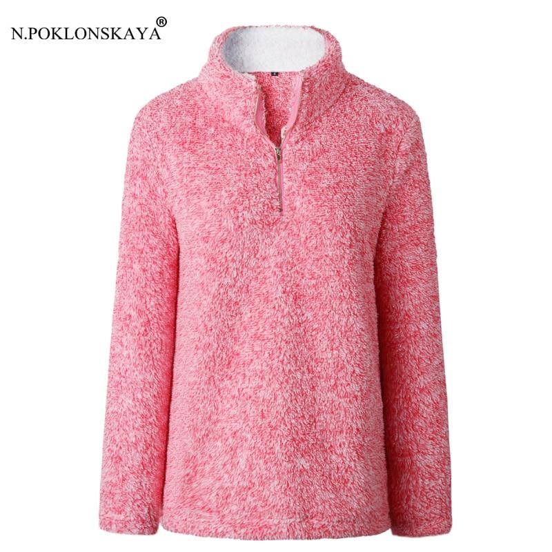 N.POKLONSKAYA Women Hoodies Female Winter Sweatshirt Solid Color Hoodie Warm Long Slleeve Tops Autumn Turtleneck Fleece Outwear