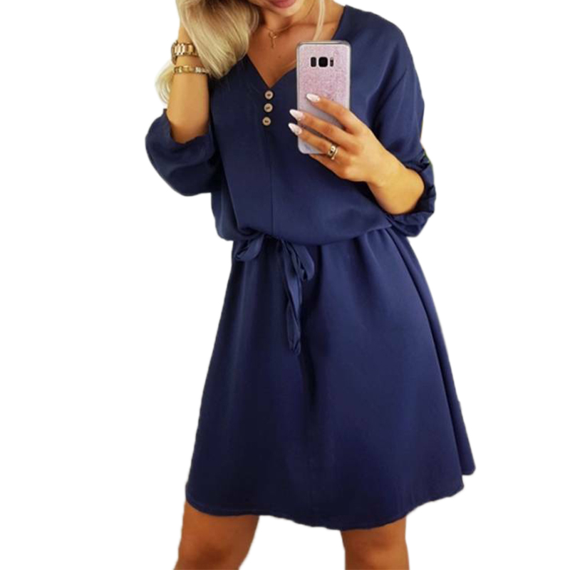 Woman Shirt Dress Woman Casual Loose Button Dresses Elegant Women Half Sleeve Belt Dresses Office Ladies Sexy V-Neck Sundress