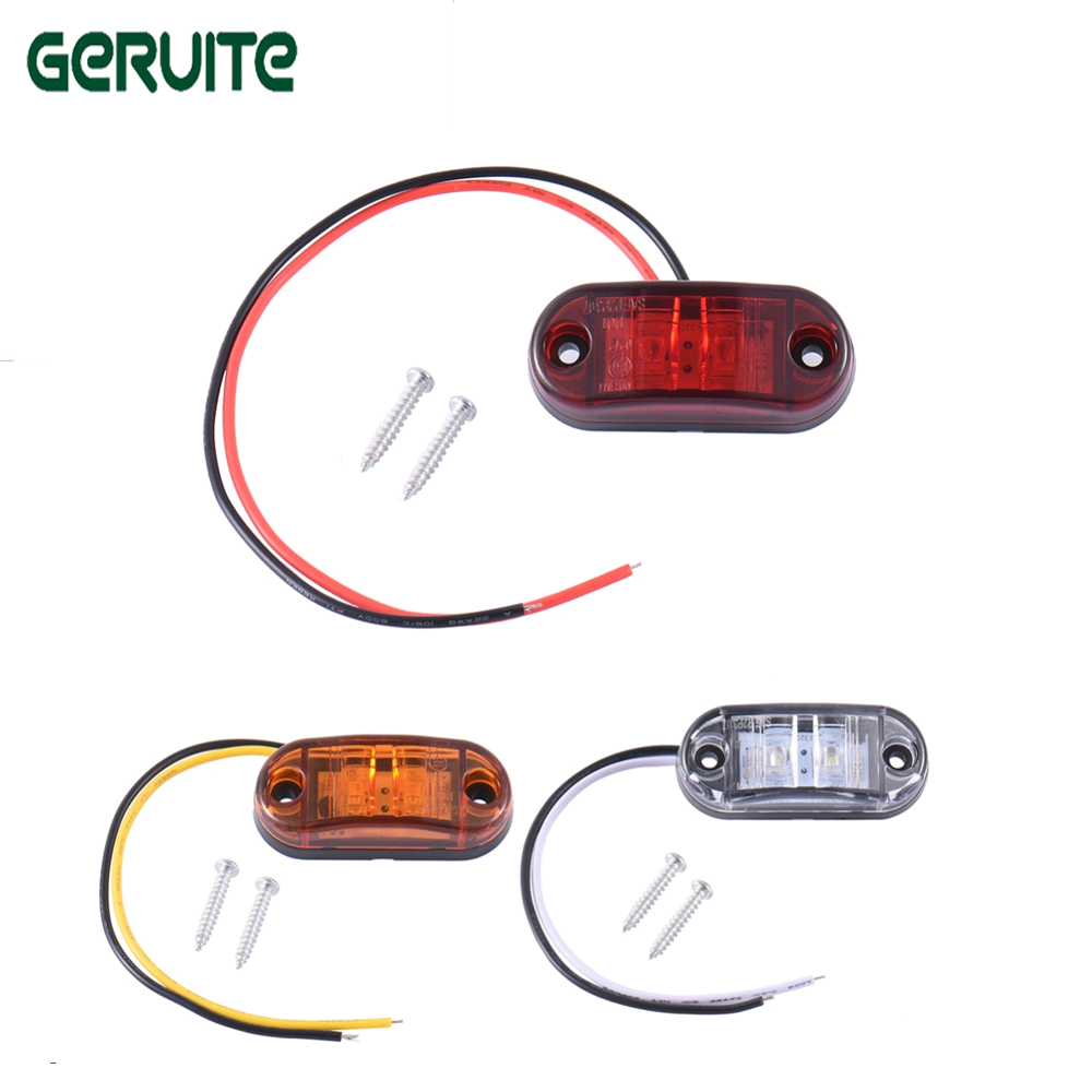 2pcs Piranha LED Side Marker Blinker Light Brake Signal Lamp For Car Truck Trailers 12/24V Waterproof ABS White Yellow Red hds090009 t20 9w 800lm 6 led red light car brake lamp silver white 2 pcs