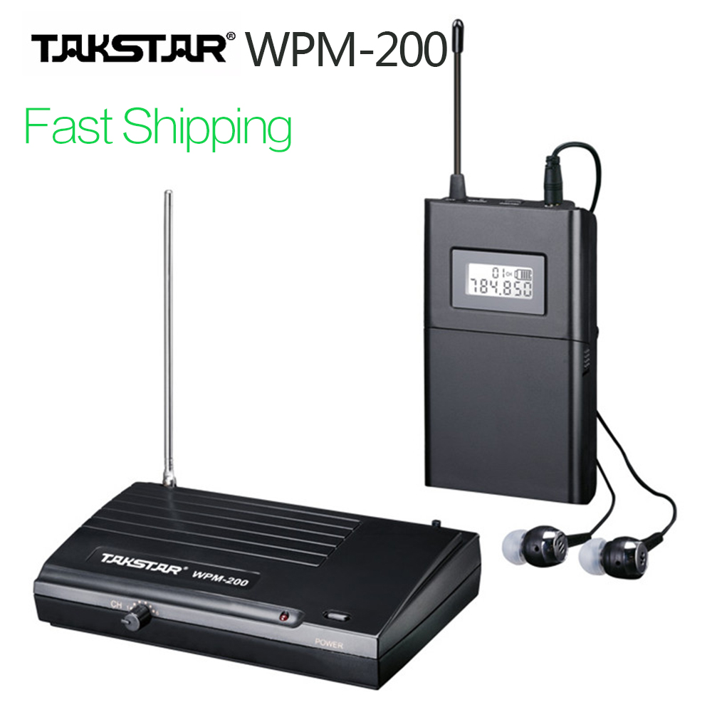Genuine TAKSTAR wpm-200 UHF Wireless Monitor System Professional Stage In Ear Stereo Wireless Earphone Transmitter & Receiver