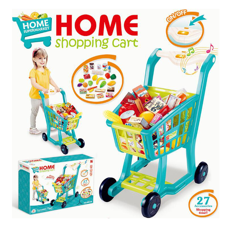 Children Shopping Cart Emulational Role Play Toys Fruit Food Vegetables Supermarket Stroller Trolley Do House Toy Gift