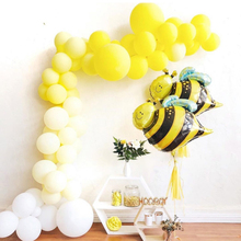 KAMMIZAD Bee Foil Balloons white/Yellow Latex Globos Set Bees Pet Animal Birthday Party Decoration Wedding/Halloween/Christmas