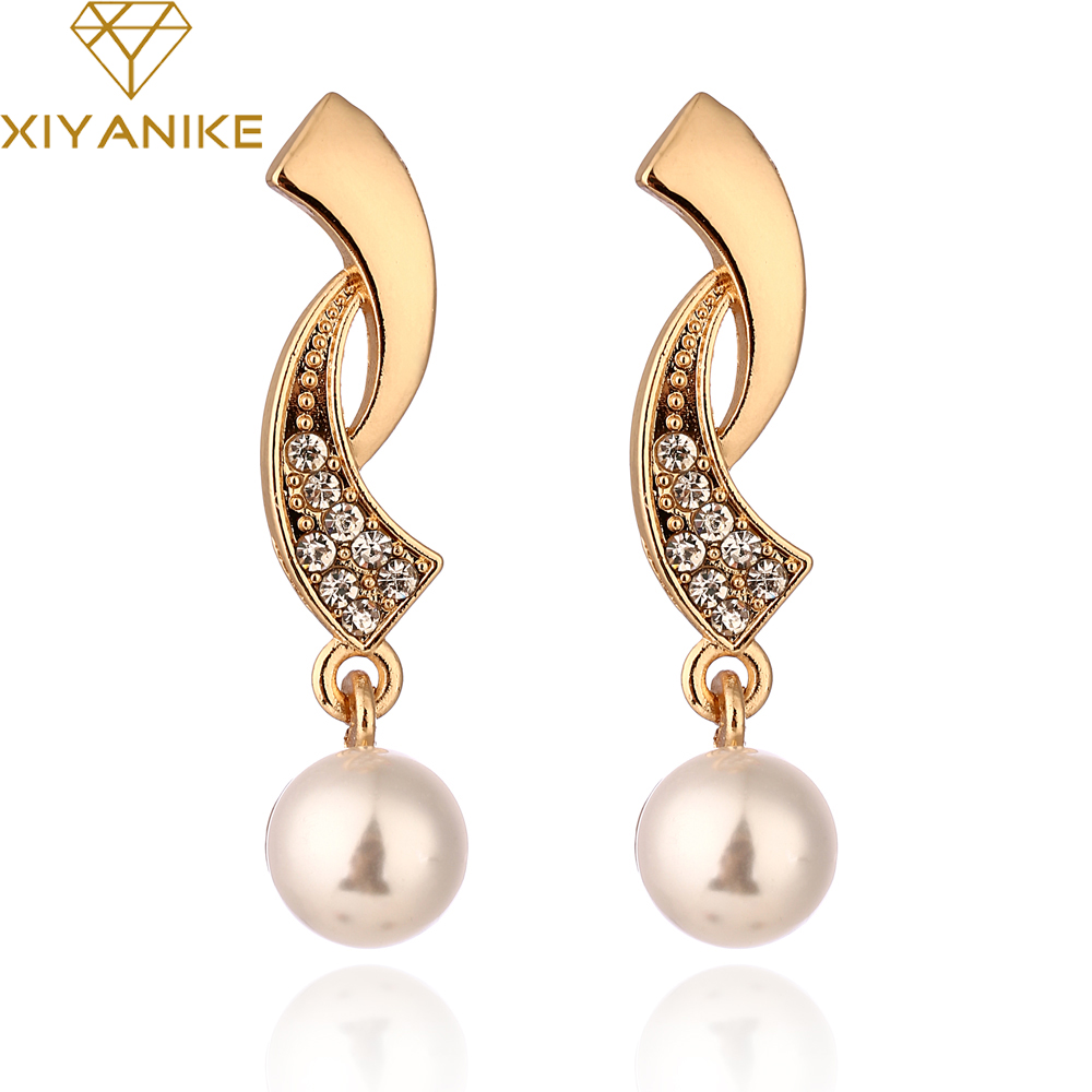 XIYANIKE 2017 Hot New Fashion Elegant Imitate Pearl Rhinestone Drop Earrings For Women Jewelry Accessories Best Gift Brinco E343