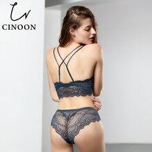 CINOON New Fashion Women sexy Velvet Bra set Underwear Push up brassiere wireless Lingerie Eyelash lace bralette