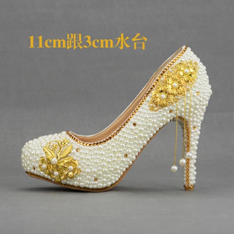 11cm Nouvelles 2019 14cm Talons De Taille 8cm Chaussures Hauts À 8cm Blanc Mariage Grande Femmes D'or Mariée Dames 14cm Perle Gland TTdqxarw