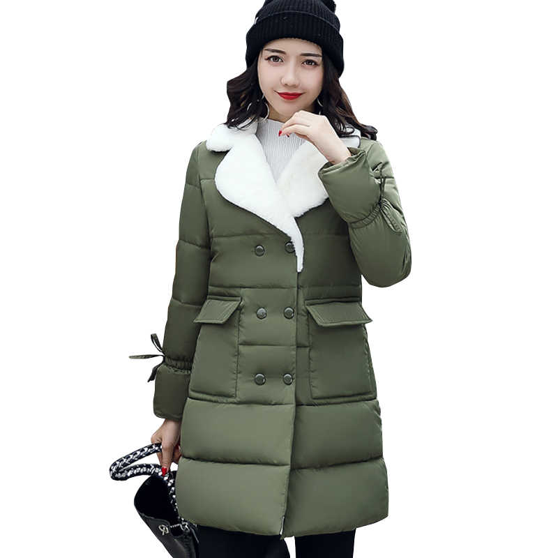 b480f1aaed6 ... 2019 Мех животных отложной воротник для женщин зимнее пальто женская  верхняя одежда парка дамы толстые теплые ...