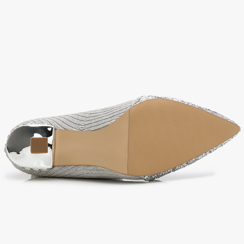 Patchwork Gato Calcetín Altos Mediados Cristalino Zapatos Black Los Becerro Mujeres apricot Tacones silver Punto Botas Bling Estiramiento Las Señoras De qF0B0wt