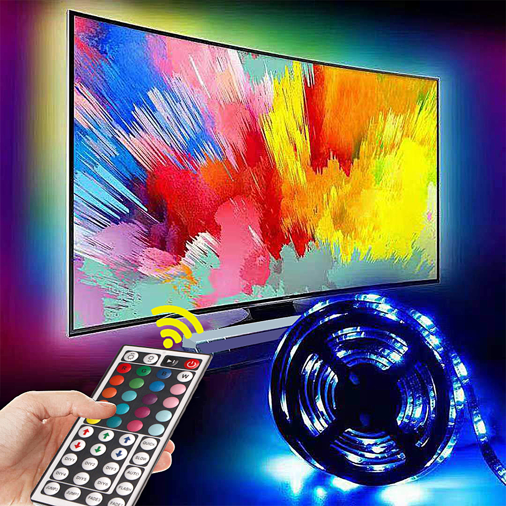 USB LED Strip Kitchen Wardrobe Led Under Cabinet Light 5V 5050 2835 RGB Flexiable LED Lights Remote 44keys Night Lamp Warm White