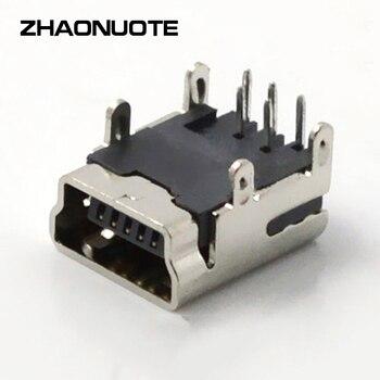 10pcs USB Connector Plug Mini 5P DIP Switch Socket Interface 90 Degrees Four Feet Circular Hole Current