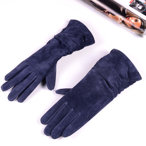 "Image 4 - 28cm 11"" Womens Ladies Genuine leather Suede Leather Middle long Folded gloves Party Evening gloves"