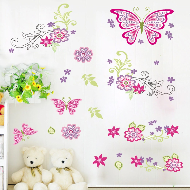 Aliexpress.com : Buy Colorful Carton Butterfly Flower DIY Poster For Kids Baby  Nursery Bedroom Girls Decor Vinyl Wall Stickers Decal Decor From Reliable  ... Part 70