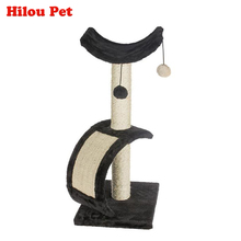 Brand Sailboat style Cat Climbing Toys Natural Sisal Scratching post Board Claws Grinding Short Plush Pet Furniture