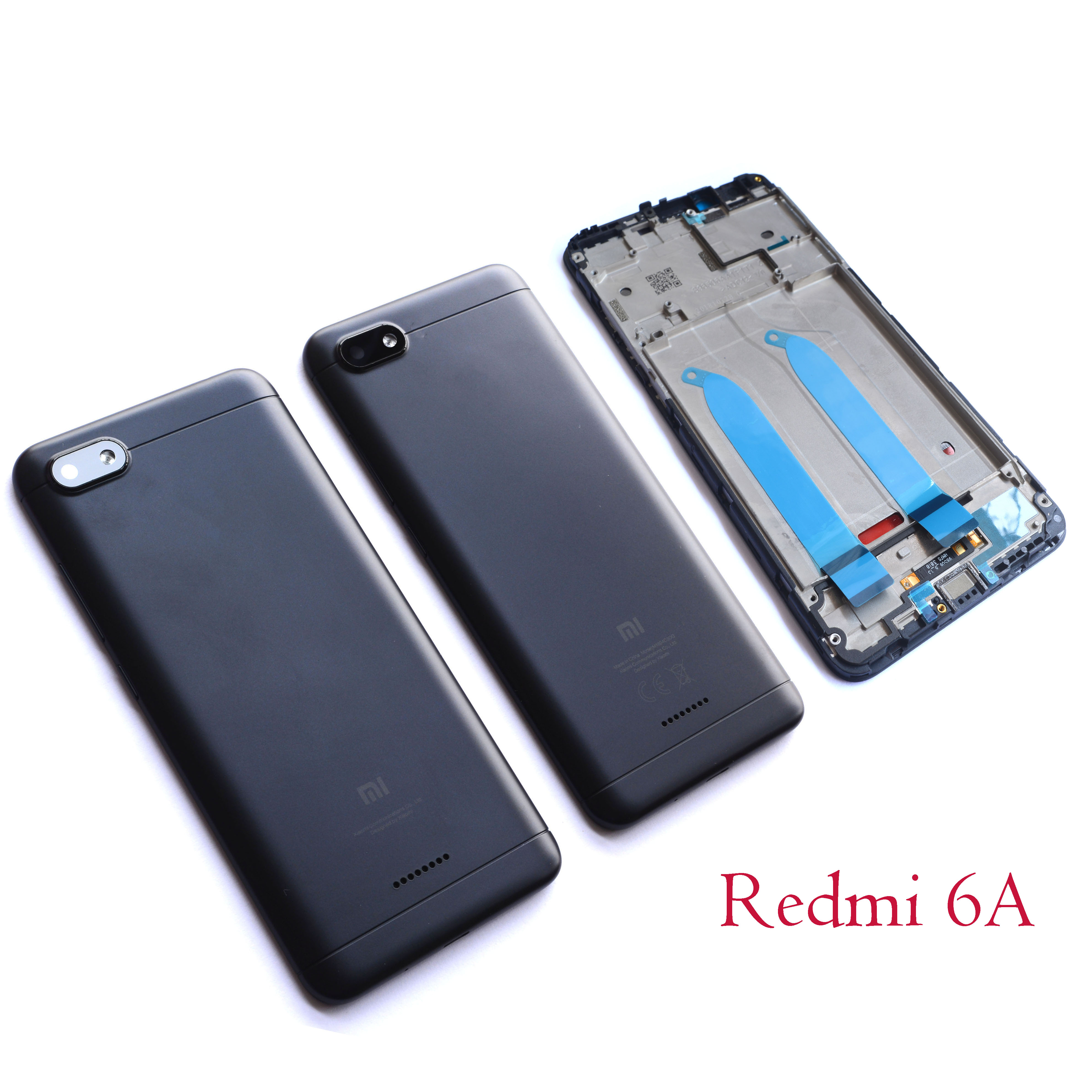Battery Back Cover For Xiaomi Redmi 6A Rear Door Housing Replacement Repair Spare Parts+ Lens Front Panel For Redmi6A