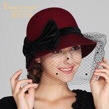 Charles Perra Brand Women Hats Mesh Fashion Hat Casual Elegant Lady Wool Beret Keep Warm England Style Fedoras 5711