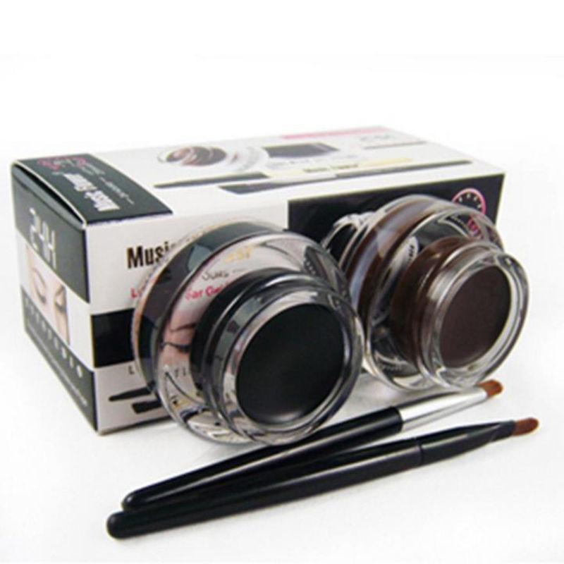 Melhor 2 em 1 + Brown Black Gel Eyeliner Maquiagem água-prova E Mancha-prova Forro de Cosméticos Definir Kit Forro Do Olho no Olho maquiagem
