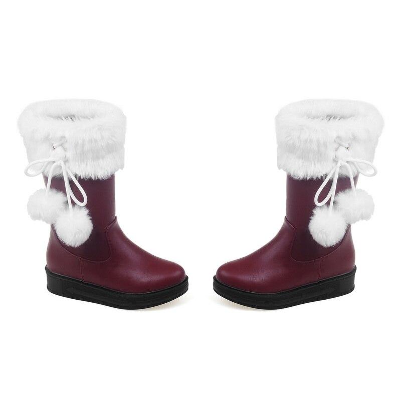De Dames Hiver mollet 30 Mode Bas 2016 Rond 52 Bottes Chaussures Chaud Solide Slip Brown sur red Grande Taille Pu Femmes Black Neige Mi white Bout Talon XxqUd