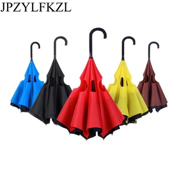 Folding Long Shank Double Layer Inverted Umbrella Windproof Reverse C-Hook male golf umbrella reverse Umbrellas For Women