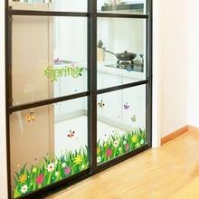Green grass butterfly wall stickers home decor living room bedroom kitchen art decal poster murals self