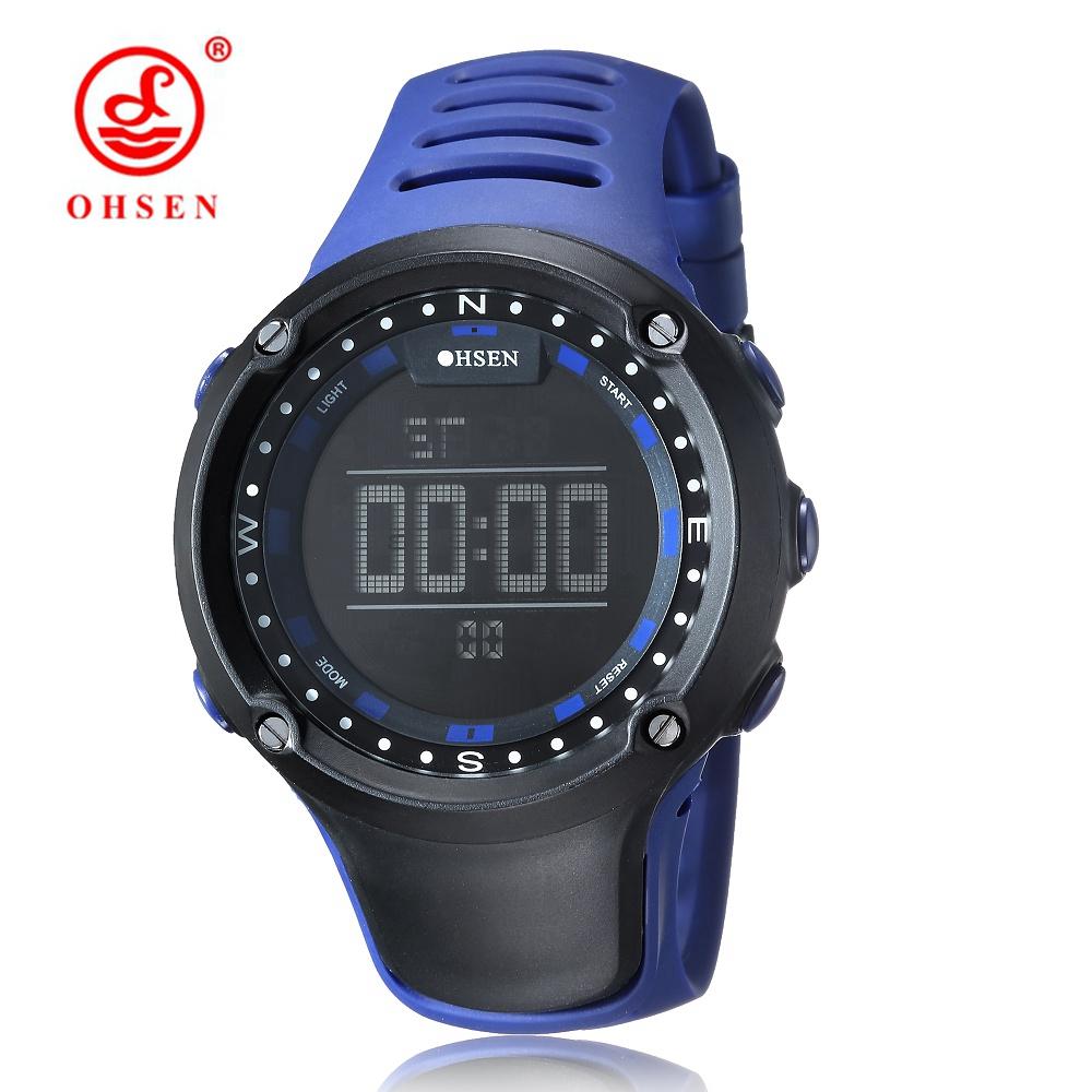 Prix pour Top vente nouveau ohsen numérique lcd mens montres cadeaux 50 m plongée bracelet en caoutchouc jour date alarme bleu mode sport en plein air montres
